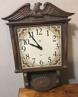 "Vintage Lux Robertshaw Electric Wall Clock ~ Eagle ~ 19"" X 12"" ~ Works!"