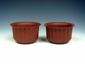 Pair YiXing Zisha Pottery Hand Crafted Tea Cups TEA Brewing TEA Ceremony #053019