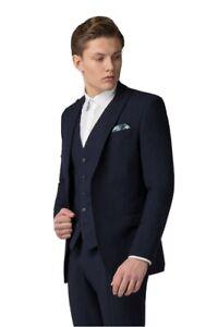 Limehaus Navy Semi Plain Slim Fit3 Piece Suit, Jacket, Waistcoat and Trousers