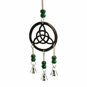 """NEW Triquetra Mini Chime Beaded Altar Decor w/ Bells 10"""" Length - Silver/Green"""