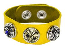 Chunk Leder Armband gelb natur 3 Chunks Druckknöpfe Click Button Kette Ring Snap