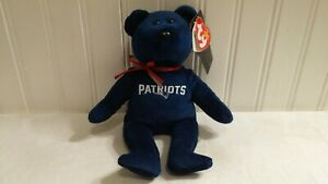 """Ty Beanie Baby NFL New England Patriots 8"""" Blue Bear with Red & Silver Bow NWT"""