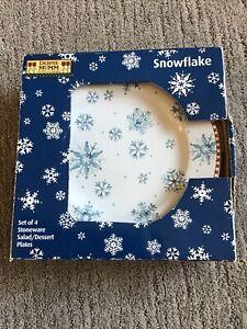 "Sakura Debbie Mumm Snowflake Salad Dessert Plates 8"" Lot of 4 Holiday Stoneware"