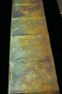 """f-023 vintage silk brocade obi fabric - flower and butterfly - 13"""" x 41"""""""