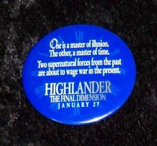 Highlander the Final Dimension Movie Promotional Collector Blue Button