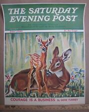 ORIG 22x28 NEWSSTAND DISPLAY POSTER ORIG 1940 PAUL BRANSOM DEER DOE WITH FAWN