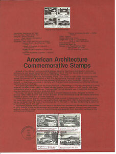20c ARCHITECTURE 1982 SOUVENIR PAGE SCOTT # 2019-2022 SP595 FDC
