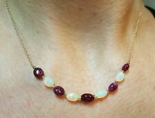 4ct oval Ruby Ethiopian Fire Opal nugget solid 14k gold necklace