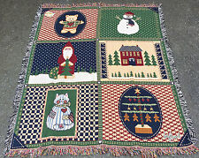 Home Spun Quilt Christmas Collage Tapestry Afghan Throw
