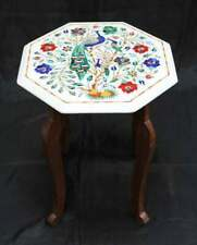 "18"" Marble Coffee Table Top Inlay Pietra dura Art With Wooden Stand"