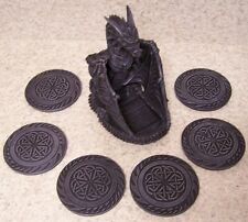 Drink Coaster Set of 6 Mythical Seated Dragon and Holder NIB