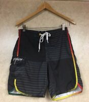 Billabong Men's Board Shorts Swim Trunks Black Striped Size 28
