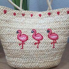 Stroh Strand Tasche Shopper Sommer Tasche Flamingo
