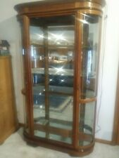 "Pulaski  Curved Glass Lighted Curio Cabinet 80"" tall x 48"" wide Med Wood Finish"