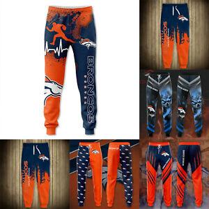 Denver Broncos Men's Football Track Pants Jogging Joggers Sports Sweatpants
