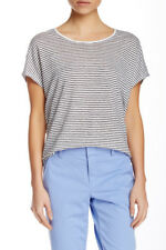 Vince Striped Cocoon Scoop Neck Linen Tee White Black Striped L Blouse Top