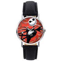 Analog Quartz Skeleton Watch Wrist Nightmare Before Christmas Black Leather Gift