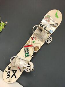 Snowboard By Salomon White w/ Decals and Burton Custom Bindings