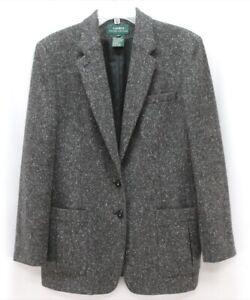 womens charcoal fleck RALPH LAUREN blazer suit jacket soft tweed wool Large 14