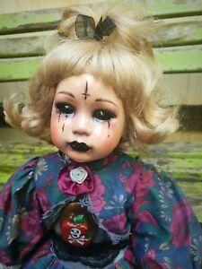 OOAK Porcelain Black Eyed Demon Child Satanic Gothic creepy Spirited Haunted
