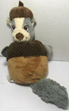 """Kong Critter Plush Squeaky Chipmunk/Acorn Dog Toy With Embedded Rope 12.5"""" New"""