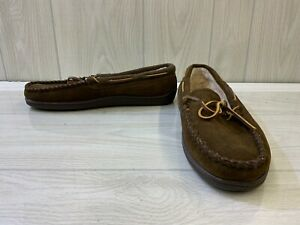 Minnetonka Pile Lined Hardsole 3908 Moccasin Slippers, Men's Size 12 M, Brown