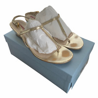 Prada Calzature Donna Leather Sandals Size EU 40.5 US 11 Box Platino Gold Thong