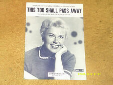 Doris Day sheet music This Too Shall Pass Away 1953 3 pages (VG+ shape)