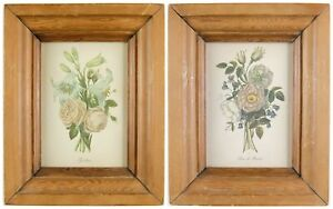 A Pair of Antique Framed Lithograph Print Etched