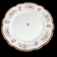 "Vintage MZ Austria Porcelain 8.5"" Dessert Plate Pink Roses Gold Edge Shabby Chic"