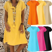 Plus Size Womens Casual Cotton Dress Short Sleeve Long Tops T-Shirt Loose Dress