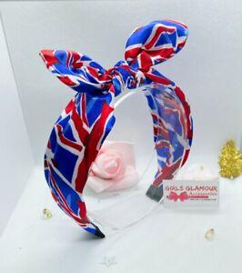Union Jack Hairband Alice Headband Hair Band Bow Tie British Flag Souvenirs Red