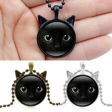 Steampunk Black Cat Face Photo Cabochon Glass Bronze Pendant Long Chain Necklace