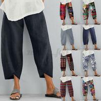 ZANZEA Women Cotton Pockets Elastic Waist Casual Loose Pants Trousers Plus Size