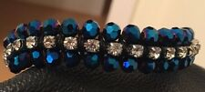 Brand New Stunning Blue Bead and Silver Diamante Bracelet