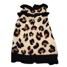 New listing Vibrant Life Leopard Dog Sweater Apparel Knit Ruffled Brown Size M Beagle Poodle