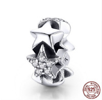100% 925 Sterling Silver Stars Spacer Charm Beads pandora