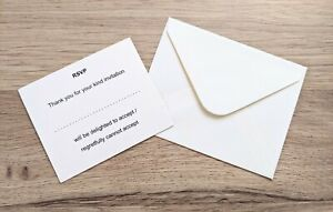 50 wedding stationery RSVP cards & envelopes. Pearlescent cream / ivory.