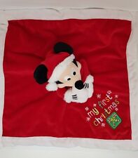 GRAND DOUDOU ROUGE PLAT MICKEY MY FIRST CHRISTMAS FLOCON DISNEY COUVERTURE NEUF