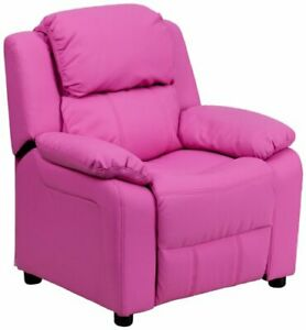 Flash Furniture Padded Hot Pink Vinyl Kids Recliner with Storage Arms New