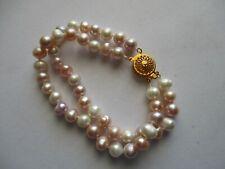 "FW Baroque Pearls Dbl Strand Bracelet 7.5"", Pink Purple White, GP Filigree Clasp"