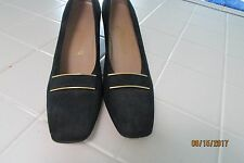"Salvatore Ferragamo Pump, 9 AAAAm Navy Blue, Sueded Leather, 2 1/4"" heel"