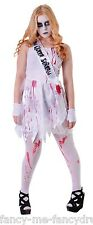 Girls Teenage Bloody Prom Queen Halloween Fancy Dress Costume Outfit One Size