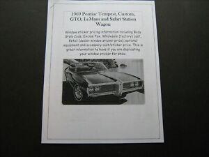 1969 Pontiac Mid-Size dealer cost/window list sticker price for car/options '69