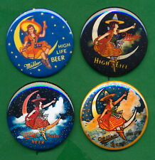 """Miller Brewery Style Girl on Moon (4) 2-1/4"""" Rp Pins Milwaukee Beer"""
