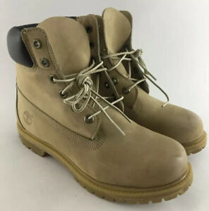 "Timberland Light Sand Beige Leather 6"" Premium Winter Boots Womens Size 8.5"