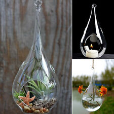 6pcs Clear Glass Tea Light Holders Candle Hanging Teardrop Candlestick Baubles