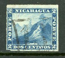 Nicaragua 1877-80 2¢ Blue Momotombo Roulette w/San Juan Del Norte Cancel L196