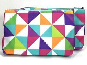 2pc Clinique Makeup Bag (White,Pink,Blue,Purple,Orange)