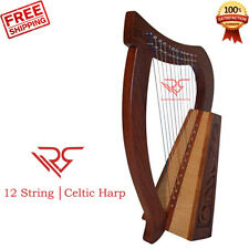 12 String Sheesham Wood CELTIC Irish Harp │ FREE >> [Carry Bag & Tuning Key]